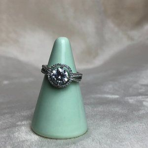 Sterling Silver Floating Faux Diamond Ring